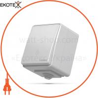 VIDEX BINERA IP65 Выключатель наружный 1кл проходной серый (VF-BNW11P-G) (10/100)