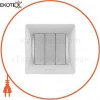 VIDEX BINERA Выключатель 3кл серебряный шёлк (VF-BNSW3-SS) (20/120)
