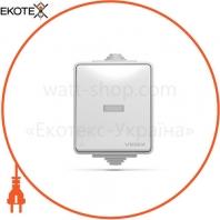 VIDEX BINERA IP65 Выключатель наружный 1кл с подсветкой серый (VF-BNW11L-G) (10/100)
