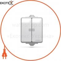 VIDEX BINERA IP65 Выключатель наружный 2кл с подсветкой серый (VF-BNW12L-G) (10/100)
