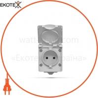 VIDEX BINERA IP65 Розетка наружная 1ая серая (VF-BNW21-G) (10/100)