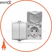 VIDEX BINERA IP65 Розетка наружная 1ая с заземлением и выключатель 2кл серый (VF-BNW32-G) (5/50)