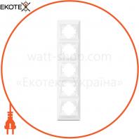 VIDEX BINERA Рамка белая 5 поста вертикальная (VF-BNFR5V-W) (12/48)
