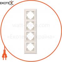 VIDEX BINERA Рамка кремовая 4 поста вертикальная (VF-BNFR4V-CR) (12/72)