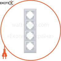 VIDEX BINERA Рамка серебряный шёлк 4 поста вертикальная (VF-BNFR4V-SS) (12/72)
