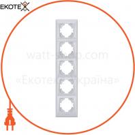 VIDEX BINERA Рамка серебряный шёлк 5 поста вертикальная (VF-BNFR5V-SS) (12/48)
