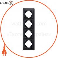 VIDEX BINERA Рамка черный графит 4 поста вертикальная (VF-BNFR4V-BG) (12/72)
