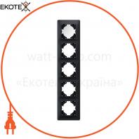 VIDEX BINERA Рамка черный графит 5 поста вертикальная (VF-BNFR5V-BG) (12/48)
