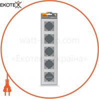 VIDEX BINERA Рамка серебристый алюминий 5 поста горизонтальная (VF-BNFRA5H-SL) (6/48)