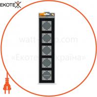 VIDEX BINERA Рамка черное стекло 5 поста горизонтальная (VF-BNFRG5H-B) (6/48)