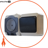Блок - 1 розетка + 1 выключатель (1шт. роз. 2Р+PE + 1 шт. одноклав. выкл.)  2РЗ16-З-ВЗ-1-IP44N арт. 2РЗ16-З-ВЗ-1-IP44N
