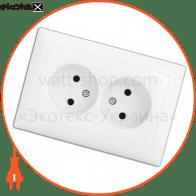 розетка WEGA 9102 подвійна без заземлення біла