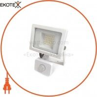 Светодиодный прожектор Velmax LED 20Вт 6200K 1800Lm 220V IP65 с датчиком движения (00-25-23) белый