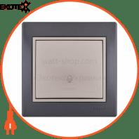 Кнопка звонка 701-2930-103 Цвет Темно-серый/Жемчужно-белый металлик 10АХ 250V~