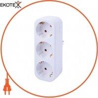 Тройник бытовой e.socket.003.16.3, 3 гнезда, 2P+PE, 16А, с з/к