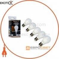 Набор из 5шт Лампа светодиодная ЕВРОСВЕТ 12Вт 4200К A-12-4200-27 Е27