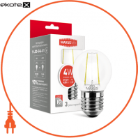 LED лампа MAXUS (filam), G45, 4W, яргкий свет,E27 (1-LED-546)