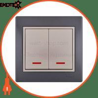 Выключатель двойной с подсветкой 701-2930-112 Цвет Темно-серый/Жемчужно-белый металлик 10АХ 250V~