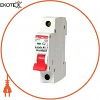 Модульный автоматический выключатель e.mcb.stand.45.1.C2, 1р, 2А, C, 4,5 кА