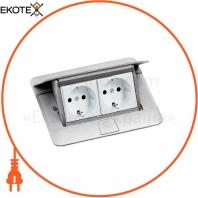 Выдвижной розеточный блок в стол или пол 4-модульный, цвет алюминий 54011 Legrand