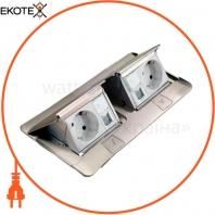 Выдвижной розеточный блок в стол или пол 6-модульный, цвет алюминий 54012 Legrand
