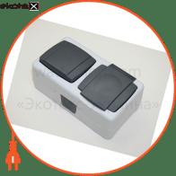 Вимикач 1-клавішний+розетка з кришкою