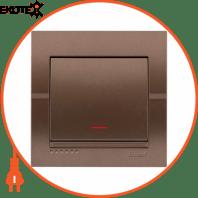 Выключатель с подсветкой 702-3131-111 Цвет Светло-коричневый металлик 10АХ 250V~