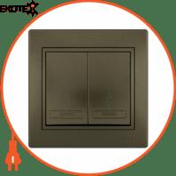 Выключатель проходной двойной 701-3131-106 Цвет Светло-коричневый металлик 10АХ 250V~