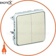 Проходной выключатель 2-клавишный IP55 IK07 белый 69625 Plexo Legrand