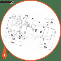 вимикач-роз'єднувач навантаження e.industrial.ukg.125.3, 3р, 125а, з фронтальною рукояткою управління