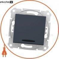 Sedna Переключатель 1 полюсный с 10AX индикатором, без рамки графит