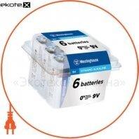 Щелочная батарейка Westinghouse Dynamo Alkaline 9V/6LR61 Крона 6шт/уп plastic case