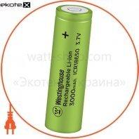 Аккумулятор литий-ионный Westinghouse Li-ion ICR18650, 3,7V, 3000mAh, 1шт