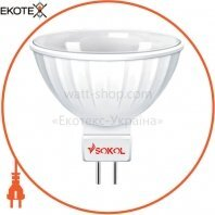 Светодиодная LED лампа MR16 5w 220В 18 SMD G5.3 3000К Sokol