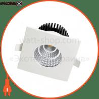 Світильник врізний вологозахищений квадрат,корпус метал 90х90mm ip 65 COB LED 6W 4200K 410Lm, колір - білий (100-240v)