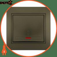 Выключатель проходной с подсветкой 701-3131-114 Цвет Светло-коричневый металлик 10АХ 250V~