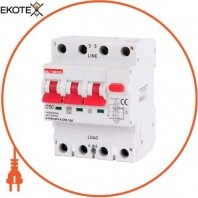 Выключатель дифференциального тока с функцией защиты от сверхтоков e.rcbo.pro.4.С50.100, 3P+N, 50А, С, тип А, 100мА