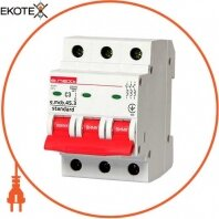 Модульный автоматический выключатель e.mcb.stand.45.3. C3, 3р, 3А, C, 4,5 кА