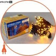 Гірлянда зовнішня DELUX STRING 100 LED нитка 10m (2x5m) 20 flash жовтий/чорний IP44 EN
