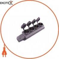 Розетка четырехместная с защитной крышкой каучуковая e.socket.rubber.029.4.16, с з/к, 16А