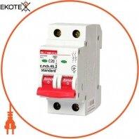 Модульный автоматический выключатель e.mcb.stand.45.2.C20, 2р, 20А, C, 4,5 кА