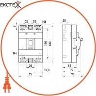 Enext i0010026 силовой автоматический выключатель e.industrial.ukm.60s.25, 3р, 25а