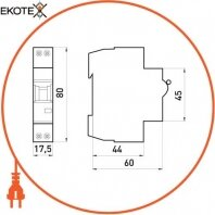 Enext i0170003 модульный автоматический выключатель e.industrial.mcb.60.1n.c16.thin, 1p+n, 16а, c,  6ка