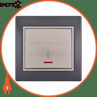 Выключатель проходной с подсветкой 701-2930-114 Цвет Темно-серый/Жемчужно-белый металлик 10АХ 250V~