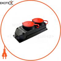 Колодка каучуковая 3Р+РЕ с защитными крышками двухместная (2 × 25А) IP44