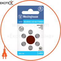 Воздушно-цинковая батарейка Westinghouse для слуховых аппаратов A312 1.45V 6шт / уп blister