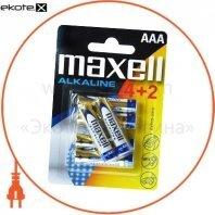Щелочная батарейка Maxell Alkaline AAА/LR03 6шт/уп (4+2)blister