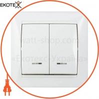 Выключатель 2-кл. с подсветкой BB10-2-1-Fr-W (белый)