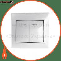 Выключатель 2-кл. с подсветкой BBсб10-2-1-Fl-W