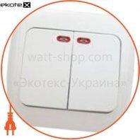 Выключатель 2-кл. с подсветкой ВВсб10-2-1-Ov-W